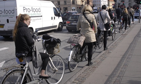 Danish cyclists queue patiently at traffic lights, Copenhagen, Denmark - 01 May 2013 - Photo by Francis Dean/REX (2313952a)